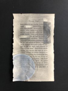 Collage on book pages with graphite and/or colored pencil, and/or watercolor, and/or scotch tape. 2020.