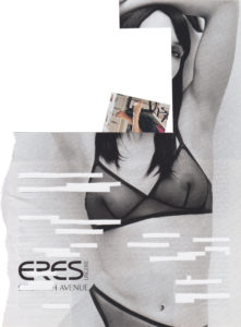 Collage image of two legs coming out of neck of headless woman wearing only a bra